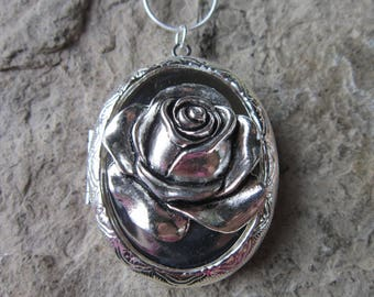 "Silver Plated Rose Lockets - Great Quality!!!  2"" Long, Weddings, Photos, Keepsakes, Unique"