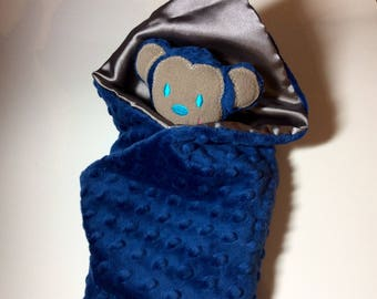 Monkey security blanket-Navy  Minky Lovie-  minky monkey blanket,Lovey-baby shower gift- Baby gift, Ready to ship