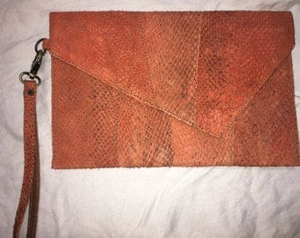 Salmon Leather Clutch- light orange