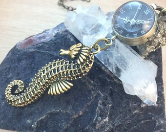 Seahorse Pocket Watch Necklace Watch REALLY Works! FREE Shipping Codes FREE Gift Box Steampunk Jewelry Mermaid Necklace Gypsy Boho Jewellery
