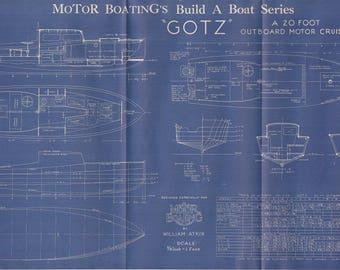 Vintage Motor Boat Ship Blueprint c.1940s Motor Cruiser Nautical Art Urban Industrial Decor