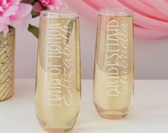 Stemless Champagne Flutes Personalized with Your Choice of Our Bridal Monogram Design & Font Combinations (Each - Engraved)