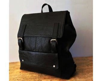 Large Handcrafted Black Leather Backpack