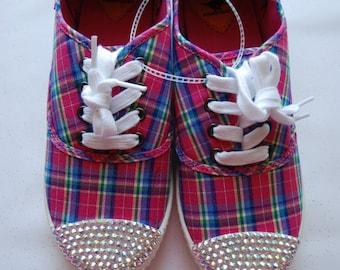 W7 Women's pink plaid Rocket Dog shoes with AB rhinestones