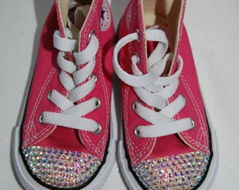 I-6 Infant girls pink high top Converse with AB rhinestones