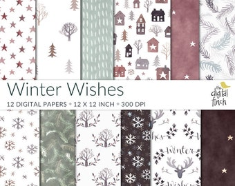 Christmas Digital Papers - Winter Wishes watercolor scrapbooking paper - Nordic Style - instant download - commercial use - royalty free