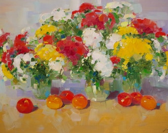 Flowers, Still Life oil Painting, large size painting, Impressionism, One of a kind