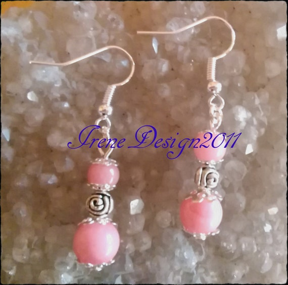 Handmade Silver Earrings with Pink Morganite & Roses by IreneDesign2011