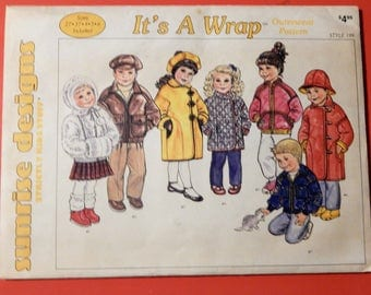 It's A Wrap children's coats and jackets pattern from Sunrise Designs Uncut Sizes 2T, 3T, 4, 5 and 6