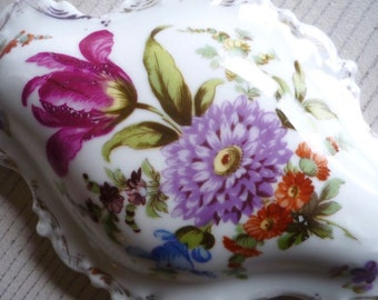 Antique porcelain box painted with flowers, antique trinket box, handpainted porcelain box