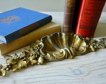 Antique French bronze pediment, gilded bronze ornament, ormolu furniture ornament