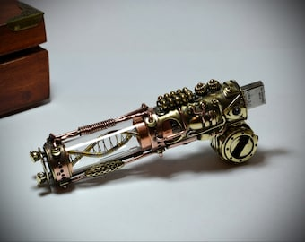 "NEW Motorized "" Molecule DNA ""  Steampunk flash drive V5. 32/64|128gb USB 3.0 ,  steampunk stick."