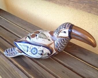 Tonala Tucan, Mexican Tonala Bird, Tonala Ceramic Bird, Sandstone Ceramic Bird, Toucan Mexican Tonala, Ceramic Bird, Mexican Ceramic Art