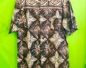 1950s Cotton Tribal/Tapa Print Nani Hawaiian Shirt L