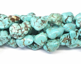 """Turquoise Nuggets, Magnesite Turquoise Nugget Beads, 1 Strand (16""""), 16mm, Howlite Turquoise Bubble Gum Beads, Wholesale Beads, Nuggets"""