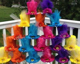 """Special! Set of 20 Mad Hatter Felt Tea Party Hats in Bright Colors - Favors, Alice in Wonderland Decorations, Birthday, Shower (3.5"""" Tall)"""