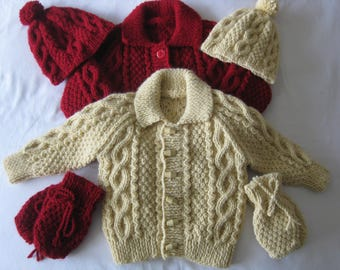 "Hand knitted baby aran Jumper Hat and Mittens set  Chest 20""/51cm"