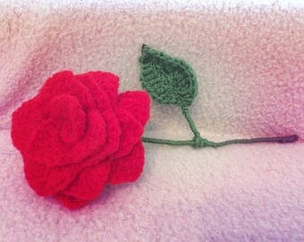 Crochet Single Red Rose with Leaf