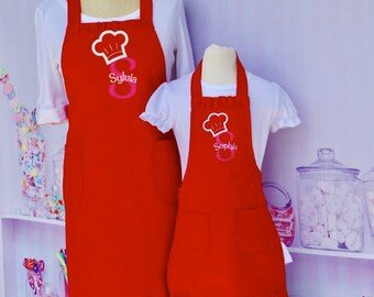 Mommy and Me Apron, Red Apron, Matching Aprons, Personalized Aprons, Cupcake Apron, Mommy and Me Outfit