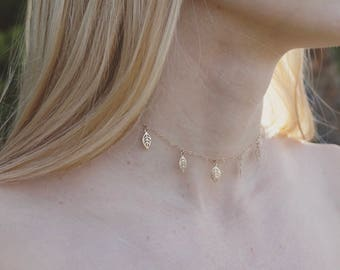 14k Gold Filled Dainty Leaf Choker, Gold Necklace, Layer Jewelry