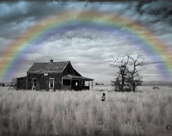 The place of my dreams - Fine art reproduction, Whimsical art, Photography, Mix media, Rainbow art, Fairytale art, Surrealism, Abandoned