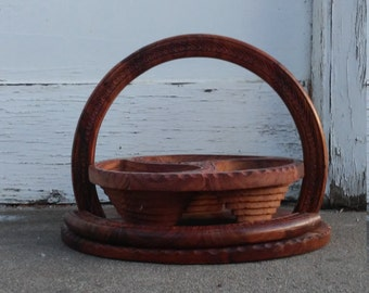 Carved Wood Pop Up Collapsible Basket