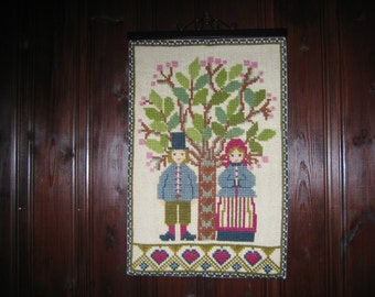 Vintage Swedish Cross Stitch Folk Art Wall Hanging