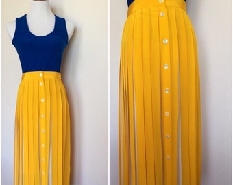 90s Mustard Yellow and White Pleated Skirt
