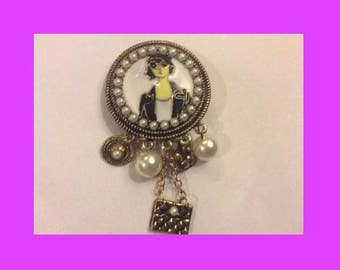COCO style old Gold Plated charm brooch