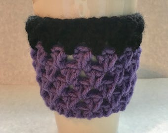 Purple Crochet mug sleeve, crochet cozie, travel mug sleeve, travel mug cozie, travel mug cozy, to go cup sleeve, ecofriendly, coffee cup