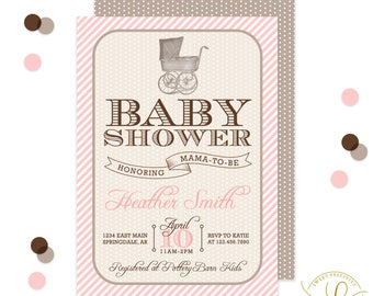 Vintage Carriage Baby Shower Invitation | Girl Baby Shower Invitation | Southern Baby Shower | Vintage Baby Shower | Vintage Invitation