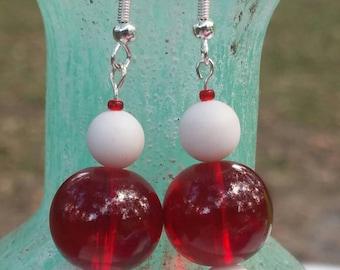 Handmade Red and White Earrings
