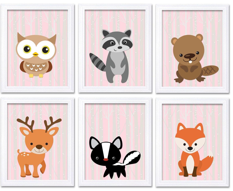 Woodland Animal Pink Nursery Art Print Set of 6 Owl Racoon Beaver Deer Skunk Fox Tree Wild Forest Ki