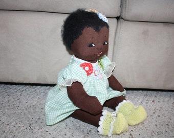 Handmade Black Rag Doll with Vintage Fabric Yo Yo Trim