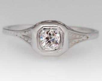 1930s Diamond Antique Engagement Ring - Old European Cut Diamond Filigree 18K White Gold Ring - WM11861