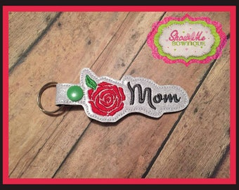 Rose Mom Key Fob Embroidery Design