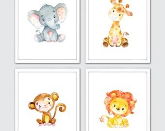 Watercolor Safari Nursery Decor, Jungle Nursery Art, Baby Animal Prints, Safari Nursery Art, Animal Wall Art, Elephant Giraffe Lion Monkey