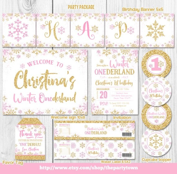 WINTER ONEDERLAND Party Package, Snowflake Pink And Silver
