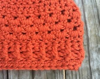 Ready To Ship Pumpkin Orange Messy Bun Hat Beanie Women's Crochet Hat Winter Accessories