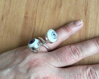 Doll eyes ring, handmade one of a kind silver ring with doll eyes
