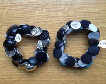 Silver Metallic Button Bracelets