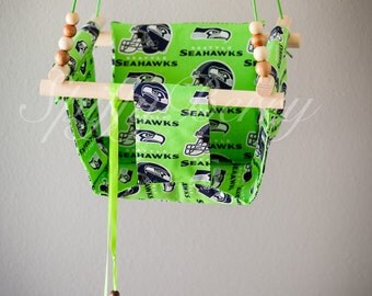 Seahawks Baby  Fabric Swing. Indoor / Outdoor Baby Todler Swing.Baby Swing Chair. Toddler Indoor Outdoor Canvas