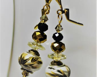 Black and Gold Oriental European Style Porcelain Earrings with Crystals
