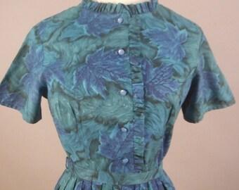 Blue Leaves Dress, Carol Brent, Vintage 1950's