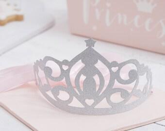 Silver Glitter Princess Tiara, Princess Crown, Princess Party, Crown's Tiara, Glitter Silver Tiara, Princess Party and Decorations