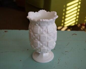 1960's Westmoreland Milk Glass Pedestal Vase/Celery Vase/Spooner, Old Quilt Pattern