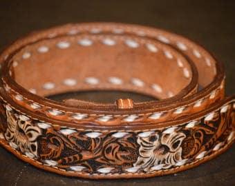 Men's Leather Tooled Belt, Size 36