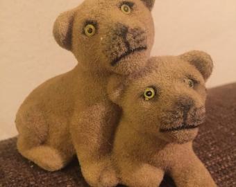 Vntg Flocked LION CUBS Figurines -Mid Century 1960