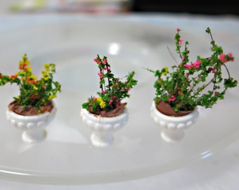 miniature plastic flower pot with flower 3 pcs