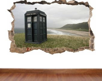 Doctor Who The Tardis hole in the wall feature Colour Wall Sticker Decal  Kids Boys Girls Poster Vinyl in 4 sizes